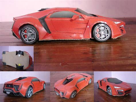 Origami Sports Car - lykan hypersport paper car free vehicle paper model