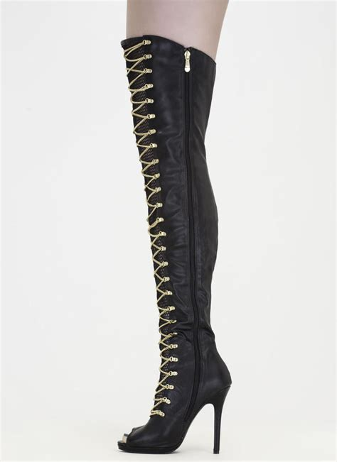 glam faux leather thigh high peep toe boots with