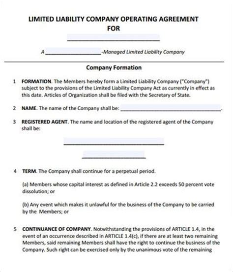 Llc Operating Agreement Template Madinbelgrade Llc Operating Agreement Indiana Template
