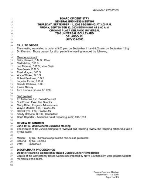 Meeting Minutes Dentistry Florida Board Of Dental Practice Meeting Template