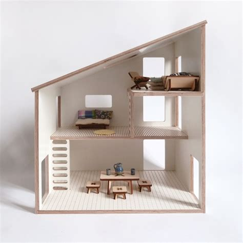 modern dollhouse doll house plywood white