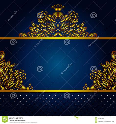 navy blue background with golden royal borders stock image and golden vector frame background stock illustration