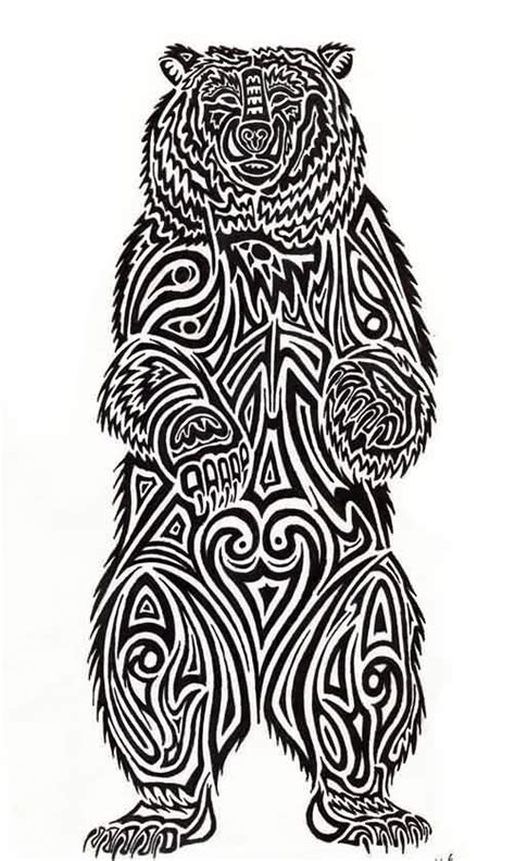 Tribal Standing Bear Tattoo Design   Tattooshunter.com