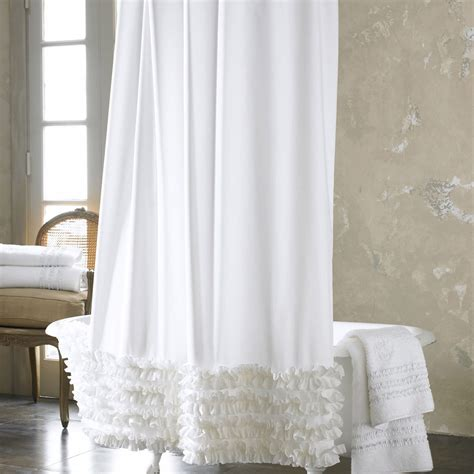 White Ruffle Curtains Ruffled Shower Curtain