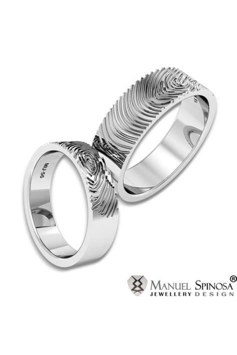 imagenes de anillos de matrimonio en oro blanco alianzas de boda en oro blanco con la huella dactilar