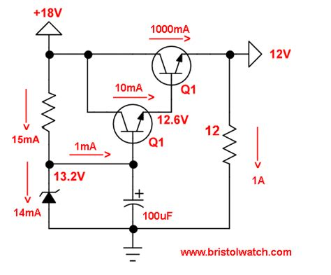 voltage regulator using zener diode and bjt transistor zener diode regulator circuits
