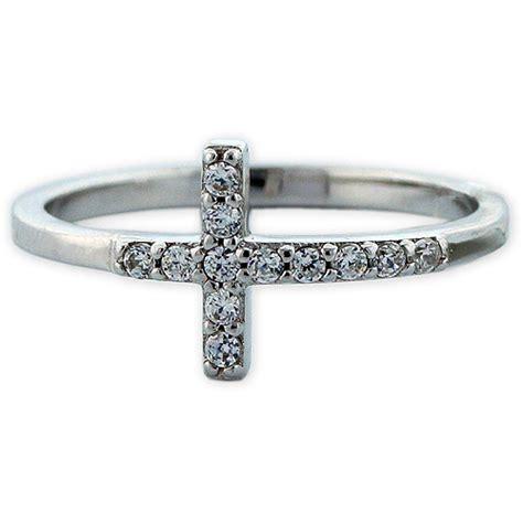 cz rhodium sterling silver sideways cross ring