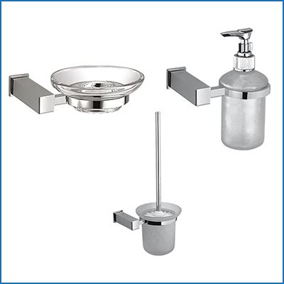 Square Chrome Bathroom Accessories Glass Square Bathroom Accessories Set Chrome Finish Ebay