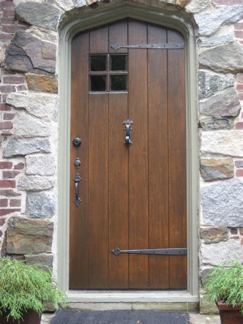 Exterior Hardwood Doors And Vintage Solid Wood Exterior Doors With Black Metal Handle For Rustic House With