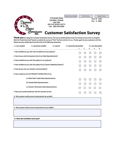 Customer Satisfaction Survey - sle customer satisfaction survey template 8 free