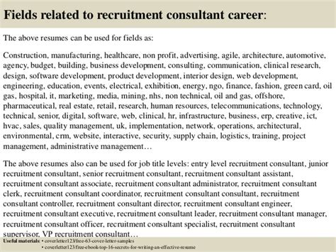 Communication Consultant Cover Letter by Top 5 Recruitment Consultant Cover Letter Sles
