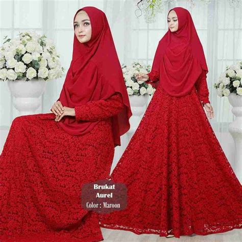 Gamis pesta syari terbaru aurel merah   Model Baju Gamis