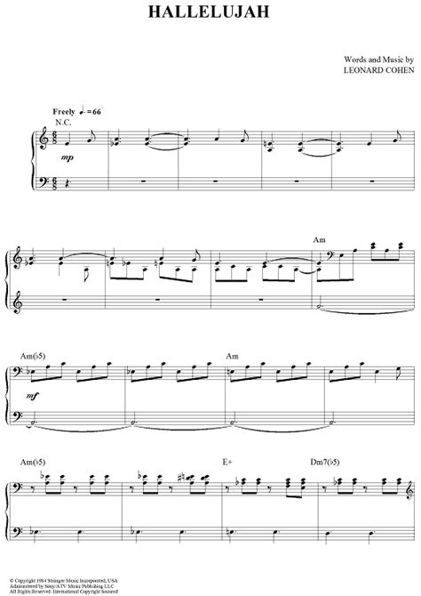 printable sheet music for hallelujah hallelujah sheet music music for piano and more