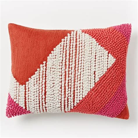 Crewel Pillows by Striped Angled Crewel Pillow Cover Poppy West Elm