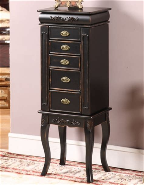jewelry armoire vintage distressed black antique style jewelry armoire