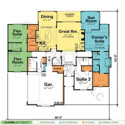 House Plans With Dual Master Suites by Single Story House Plans With Dual Master Suites Cottage
