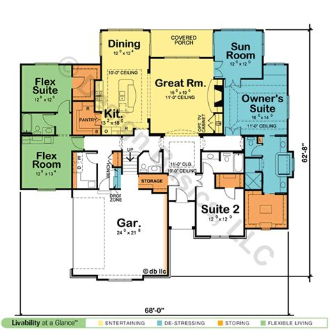 House Plans With Dual Master Suites - single story house plans with dual master suites cottage