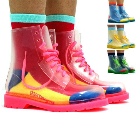 jelly boots womens jellies jelly festival clear doc ankle boots