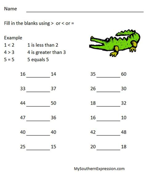 math worksheets grade 1 greater than less than 2nd grade math worksheets greater than less than equal to