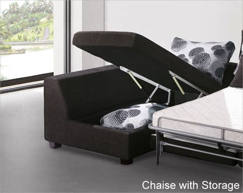 modern sectional set with sleeper sofa and storage chaise