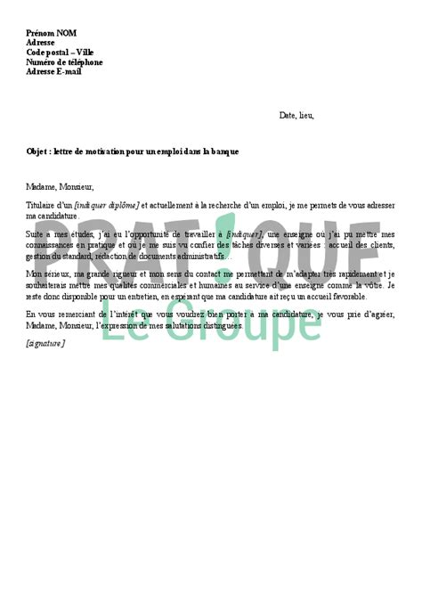 Lettre De Motivation Pour Promotion Interne Banque Lettre De Motivation Standard Modele De Jaoloron
