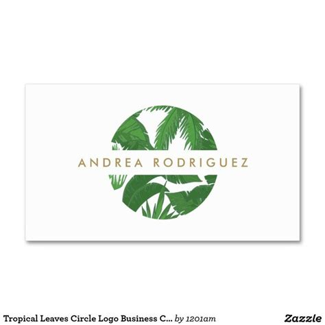 circle business card template tropical leaves circle logo business card template for