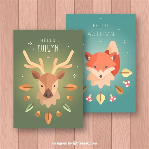 Flat Fox flat autumn cards with deer and fox vector free