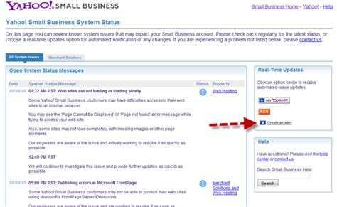 yahoo email update alert tuesday tools yahoo small business system status updates