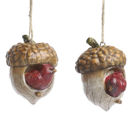 cardinal and acorn birdhouse ornament christmas