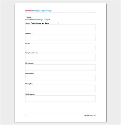 social media strategy outline template 7 sles for