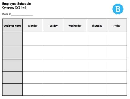 Employee Schedule Template Free Instant Downloads Blank Staffing Schedule Template