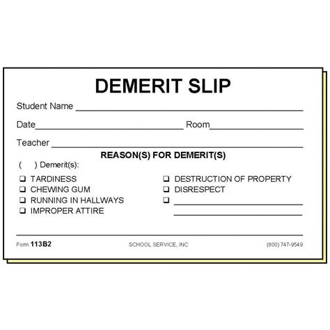 demerit card template 113b2 two part demerit slip carbonless forms