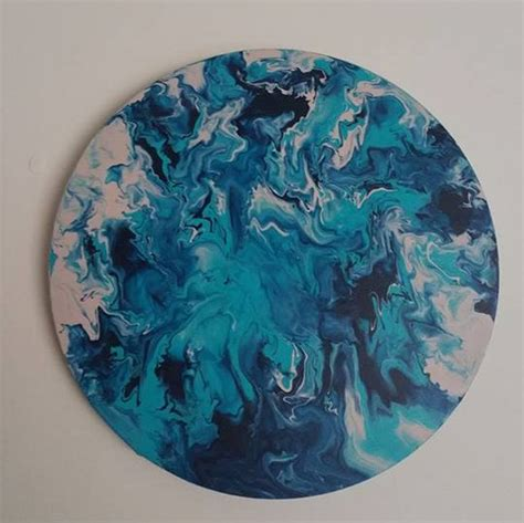 how to marble acrylic paint on canvas circle canvas acrylic marble effect painting aqua metallic