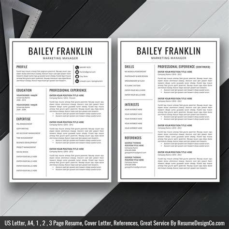 Two Page Resume Template by Instant The Bailey Resume Resumedesignco