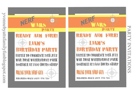 invitation template printable nerf invitations template free printable templates