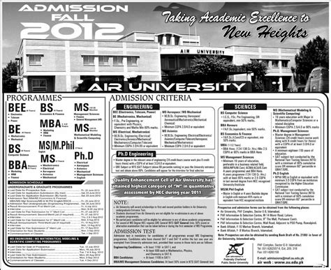 Lums Mba Course Outline by Air Islamabad Admissions May 2012 Learningall