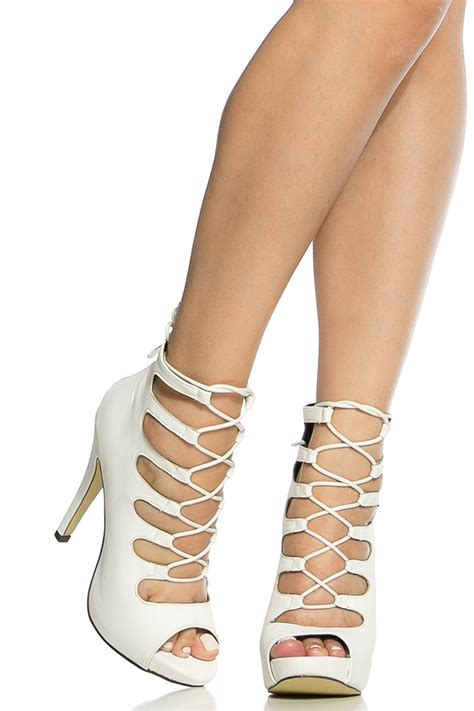 white lace up high heel boots lace up white heels heels me
