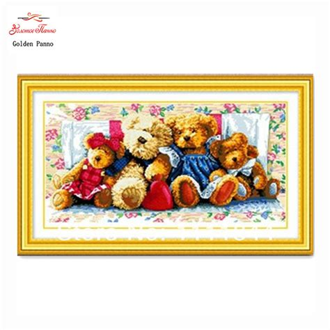 Jedora Emboidery Set 1 needlework cross stitch sets for embroidery kits diy dmc family of bears picture patterns