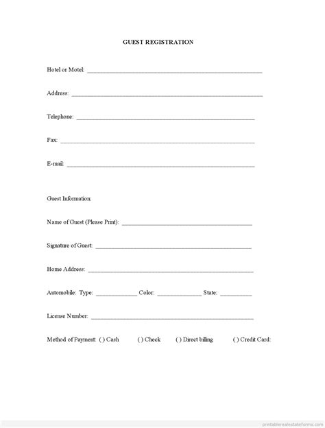 registration cards template sle printable guest registration form printable real