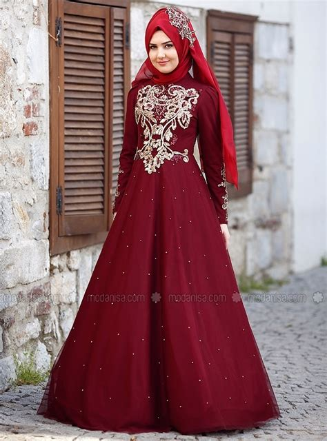 Muslim Maroon maroon fully lined crew neck muslim evening dress
