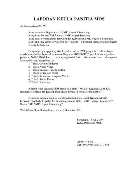 laporan ketua panitia mos