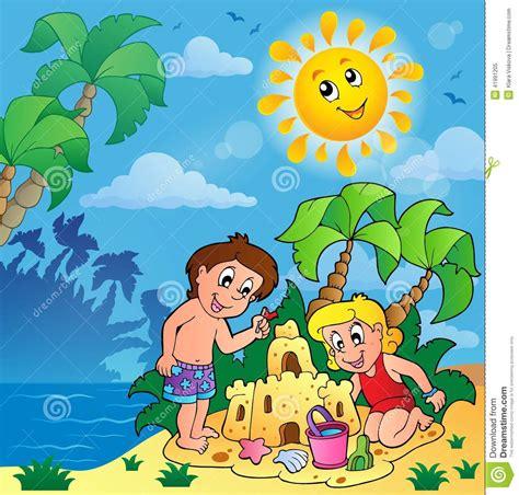 imagenes de niños jugando bajo el sol summer theme with children playing stock vector image