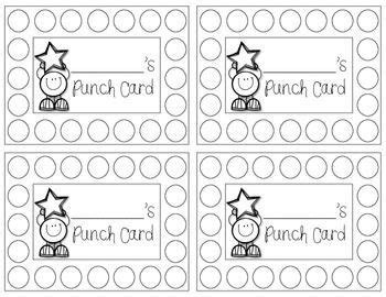 Punch Cards Freebie Classroom Organization And Ideas Behavior Punch Cards Classroom Reward Punch Card Template