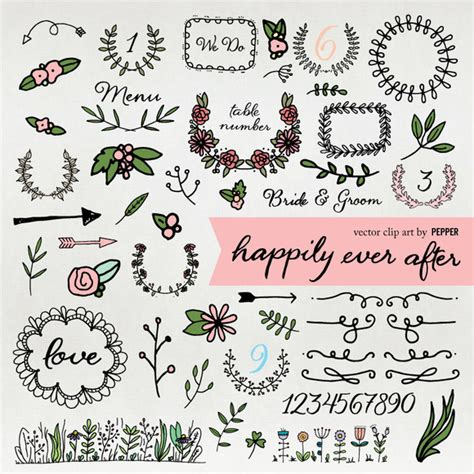 Wedding Font Doodles by Sweet Abby Chan 187 Designtube Creative Design Content