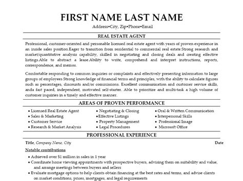 Resume Objective Real Estate The Real Estate Resume Exles Tips Writing Resume Sle Writing Resume Sle