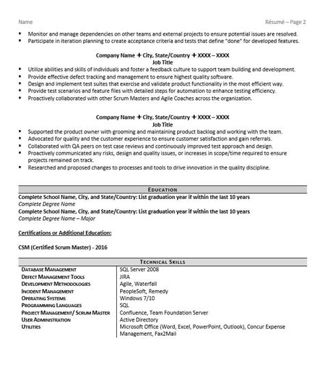 Master Resume Template by Scrum Master Resume Exle Tips For 2018 Zipjob