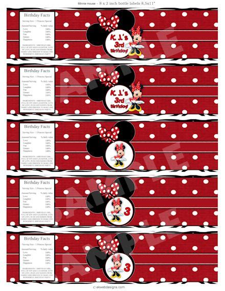 Mickey And Minnie Halloween Decorations Minnie Mouse Water Bottle Labels Printable File