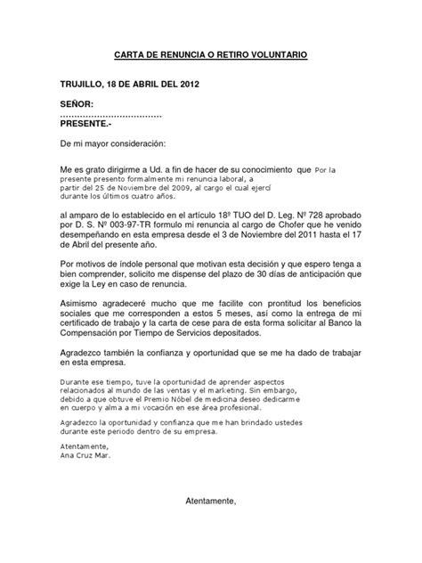 carta de retiro claro carta de renuncia o retiro voluntario