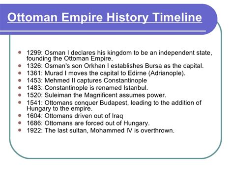 Timeline Of The Ottoman Empire image gallery ottoman empire timeline