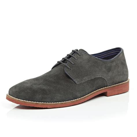 river island grey suede formal shoes in gray for